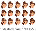 Woman face expression vector design illustration isolated on white background 77011553