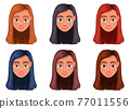 Woman face vector design illustration isolated on white background 77011556