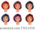 Woman face vector design illustration isolated on white background 77011559