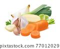Onion, leek, garlic, potato and carrot isolated on white background. 77012029