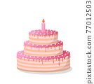 ill of a pink birthday cake on white 77012503