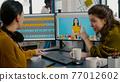 Photographers using professional retouching software 77012602