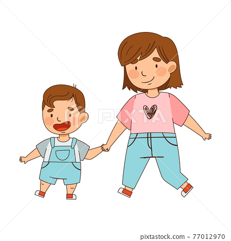 Sister Holding Her Little Brother by the Hand Walking as Family Relations Vector Illustration 77012970