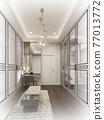sketch design of interiorwalk-in closet,3d rendering 77013772