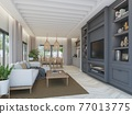 sketch design of interior living room,3d rendering 77013775