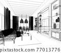 sketch design of interior living room,3d rendering 77013776