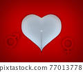 heart with male and female symbol on red background 3d rendering 77013778