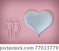 heart with male and female symbol on pink background 3d rendering 77013779