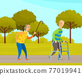 Old people man and woman on walk in city garden. Elderly couple with walking cane and walker in park 77019941