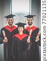 Graduates in mortarboards looking happy and joyful 77021135