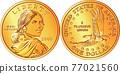 Vector American Sacagawea dollar gold coin 77021560