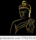 Golden buddha with paint golden border element isolate on black background 77025519