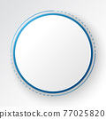Abstract Technology Background, white circle banner on blue digital circle 77025820