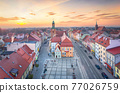 Sroda Slaska, Poland. Arrial view of historic Town Hall 77026759