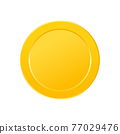 Gold coin icon set. Game win item. Token money badge. App interface design element. Cartoon profit collection. Virtual trophy sign. Vector illustration 77029476
