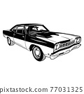 Muscle car - Old USA Classic Car, 1960s, Muscle car Stencil - Vector Clip Art for tshirt and emblem 77031325