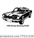 Muscle car - Old USA Classic Car, 1960s, Muscle car Stencil - Vector Clip Art for tshirt and emblem 77031326