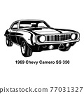 Muscle car - Old USA Classic Car, 1960s, Muscle car Stencil - Vector Clip Art for tshirt and emblem 77031327