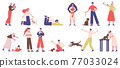 People with pets. Pet owners playing, walking and hugging with dogs, cats and birds vector illustration set. Domestic animals owners 77033024