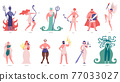 Greek gods and goddess. Olympic cartoon gods and heroes, poseidon, hades, zeus and hermes. Ancient mythology characters vector illustration set 77033027