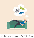 Man relaxing and dreaming on the sofa. 77033254