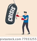 Businessman breaks the crisis with boxing gloves. The concept of business and the financial crisis. 77033255