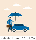 Car insurance concept. Umbrella that protects automobile. Insurance policy. Vector illustration. 77033257
