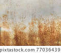 Corroded metal background. Rusty metal background with streaks of rust. Rust stains. Rystycorrosion. 77036439