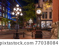 Gastown Steam Clock and Vancouver downtown beautiful street view at night. Cambie and Water Street. British Columbia, Canada. 77038084
