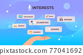 human hand choosing apps voice conversation audio social network communication voice recognition 77041692