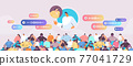 people communicate by voice messages audio chat application social media online communication 77041729