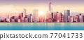 city buildings skyline modern architecture sunset cityscape background horizontal 77041733