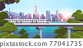 modern town with skyscrapers and monorail train on bridge smart city solutions urban infrastructure innovation 77041735
