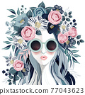 Vector illustration of a sunglasses girl with floral headdress in spring for Wedding, anniversary, birthday party. 77043623