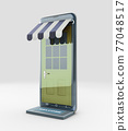 3d Rendering of Modern smart mobile phone with on line shopping store, clipping path included 77048517