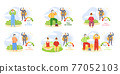 Set of illustrations about outdoor sports. People do yoga and de-stress. Changes in immunity levels 77052103