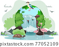 Climate and weather change of planet. Eco friendly, biodiversity, conservation and environmental protection 77052109