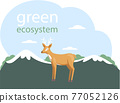 Caring for green ecosystem. Representative of biodiversity of planet. Deer on abstract background 77052126