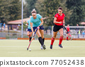 Two field hockey female players struggle for ball 77052438