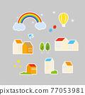 residential, rainbow, set 77053981