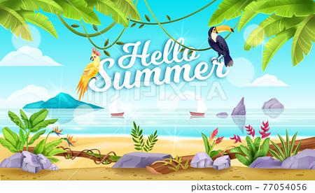 Hello summer vector beach landscape, tropical birds, toucan, parrot, liana, ocean, sand, stone 77054056
