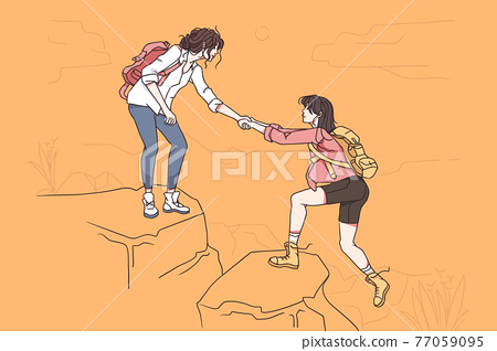 Hiking on nature and assistance concept. 77059095