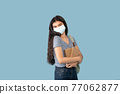 Portrait of Indian teenage girl in face mask posing with backpack and books on blue studio background 77062877