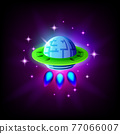 Ufo alien spaceship on the background of space and stars icon, vector illustration. 77066007