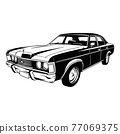 Muscle car - Old USA Classic Car, 1970s, Muscle car Stencil - Vector Clip Art for tshirt and emblem 77069375