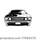 Muscle car - Old USA Classic Car, 1960s, Muscle car Stencil - Vector Clip Art for tshirt and emblem 77069379