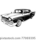 Muscle car - Old USA Classic Car, 1950s, Muscle car Stencil - Vector Clip Art for tshirt and emblem 77069395
