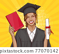 Pop art girl graduate student with university diploma 77070142