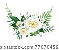 Elegant half wreath floral bouquet with yellow garden roses, white camellia flowers, greenery, green forest fern leaves, eucalyptus. Vector, editable, watercolor illustration. Wedding designer element 77070459