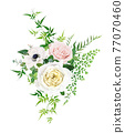 Tender, romantic vector floral bouquet illustration. Watercolor style anemone flower, blush pink, creamy yellow roses, greenery jasmine vines and fern leaves. Wedding invite, greeting designer element 77070460